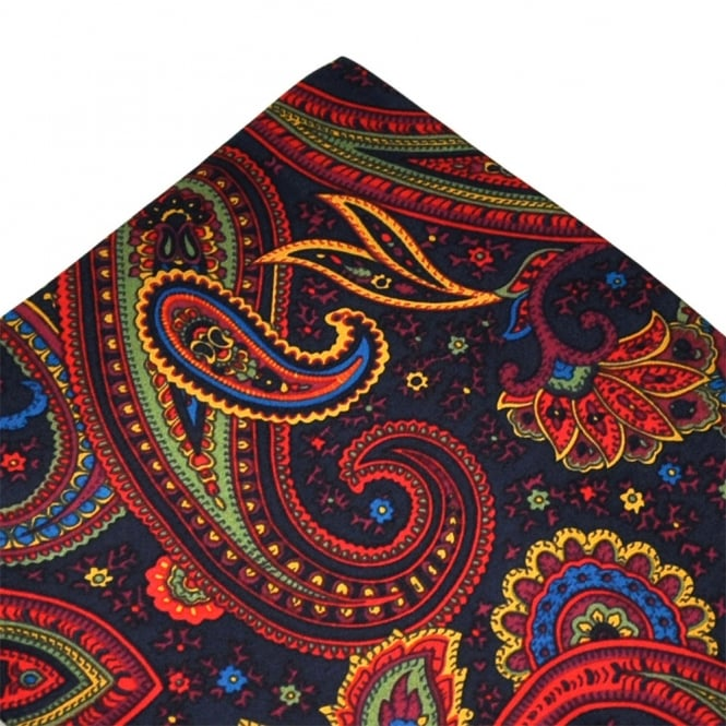 55041ce5b031a Tootal Navy, Red, Yellow & Green Paisley Silk Pocket Square Handkerchief  from Ties Planet UK