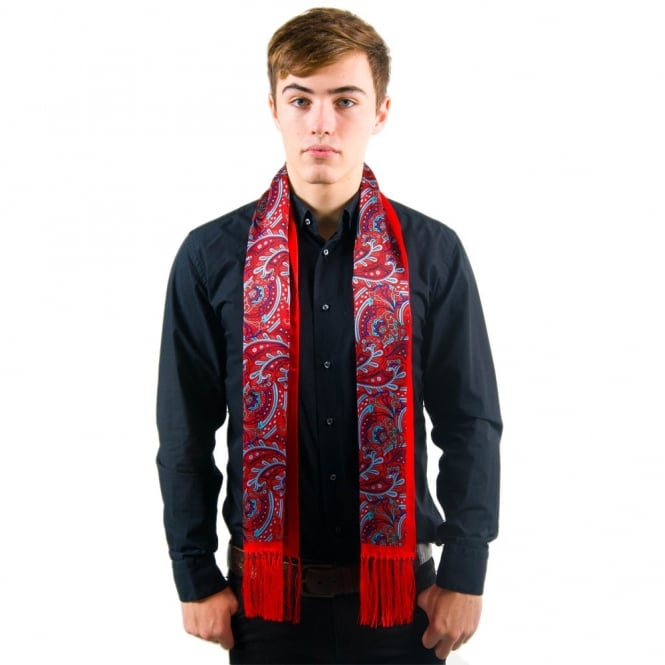 Tootal Red & Blue Paisley Fringed Silk Men's Evening Scarf