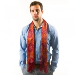 Tootal Red Hourglass Design Fringed Silk Men's Evening Scarf