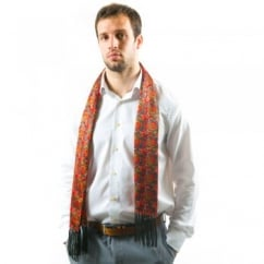 Tootal Red Paisley Fringed Silk Men's Evening Scarf