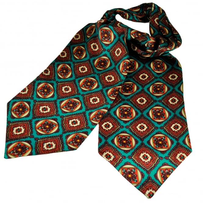 Tootal Turquoise, Red, Blue & Ivory Moasic Patterned Silk Day Cravat