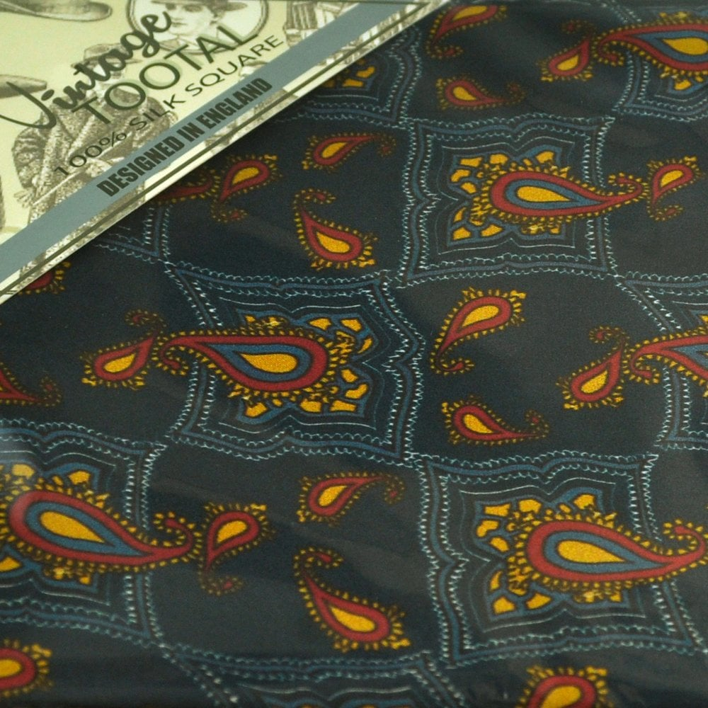 d9cca6d17f20d Tootal Vintage Tile Print & Paisley Navy Blue Silk Pocket Square  Handkerchief from Ties Planet UK