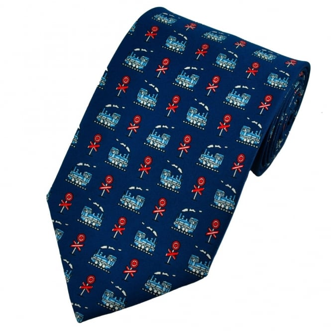 Trains & Railway Signals Royal Blue Novelty Tie