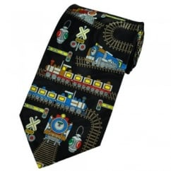 Trains & Tracks Novelty Black Tie
