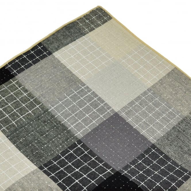 Tresanti Beige, Black & Grey with Beige Edge Checked Linen Pocket Square Handkerchief