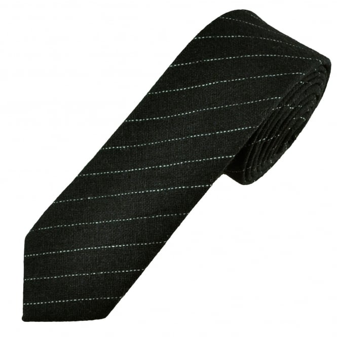 Tresanti Black & White Striped Wool Blend 6cm Skinny Tie