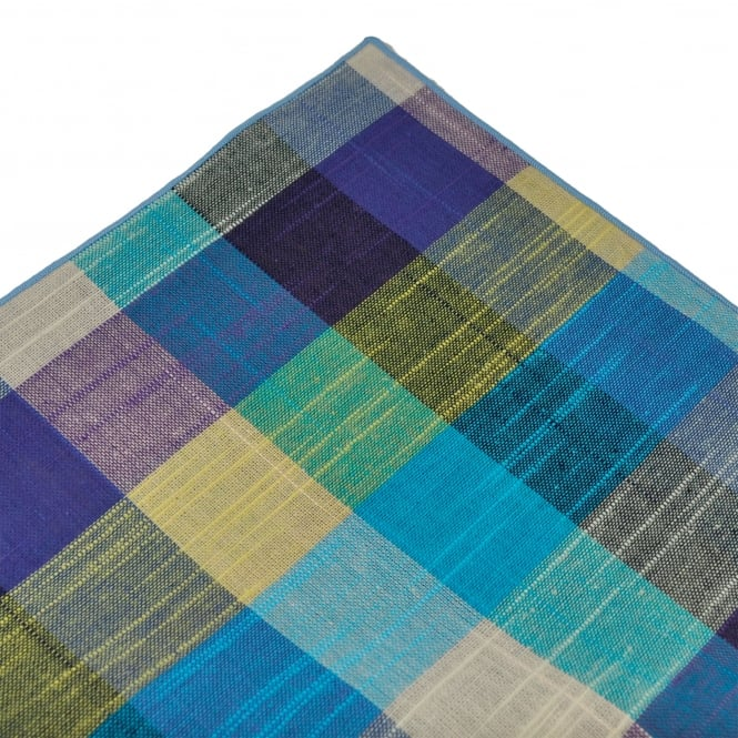 Tresanti Blue, Purple & Yellow with Blue Edge Checked Linen Pocket Square Handkerchief