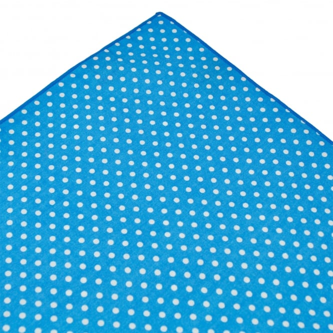 Tresanti Blue & White Polka Dot Cotton Pocket Square Handkerchief