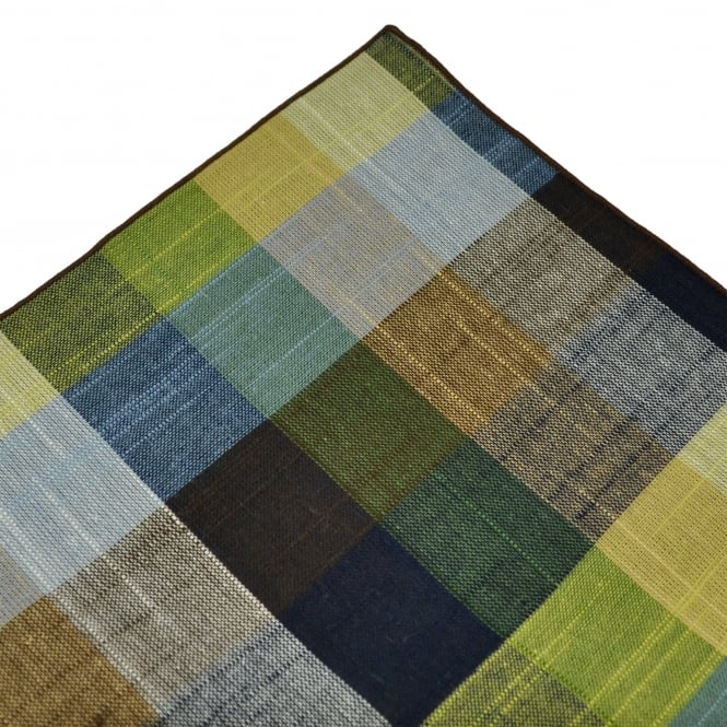 Tresanti Brown, Green & Navy with Brown Edge Checked Linen Pocket Square Handkerchief