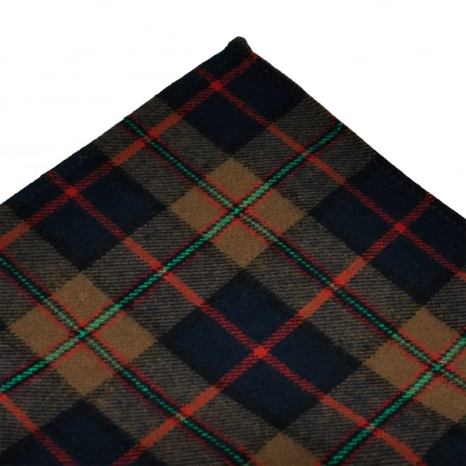 Tresanti Brown, Navy Blue, Green & Red Checked Cotton Pocket Square Handkerchief