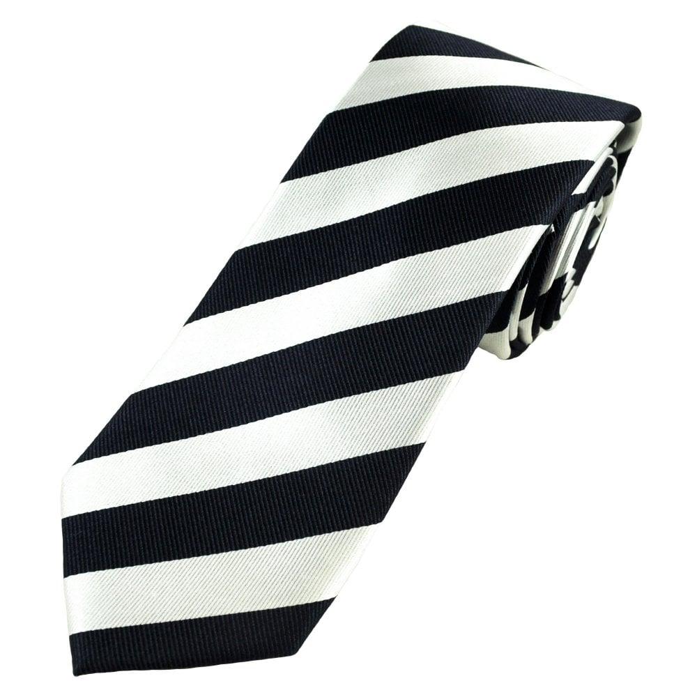 5006f6e169689 Tresanti Celeste Navy Blue & Silver White Striped Men's Silk Designer Tie  from Ties Planet UK