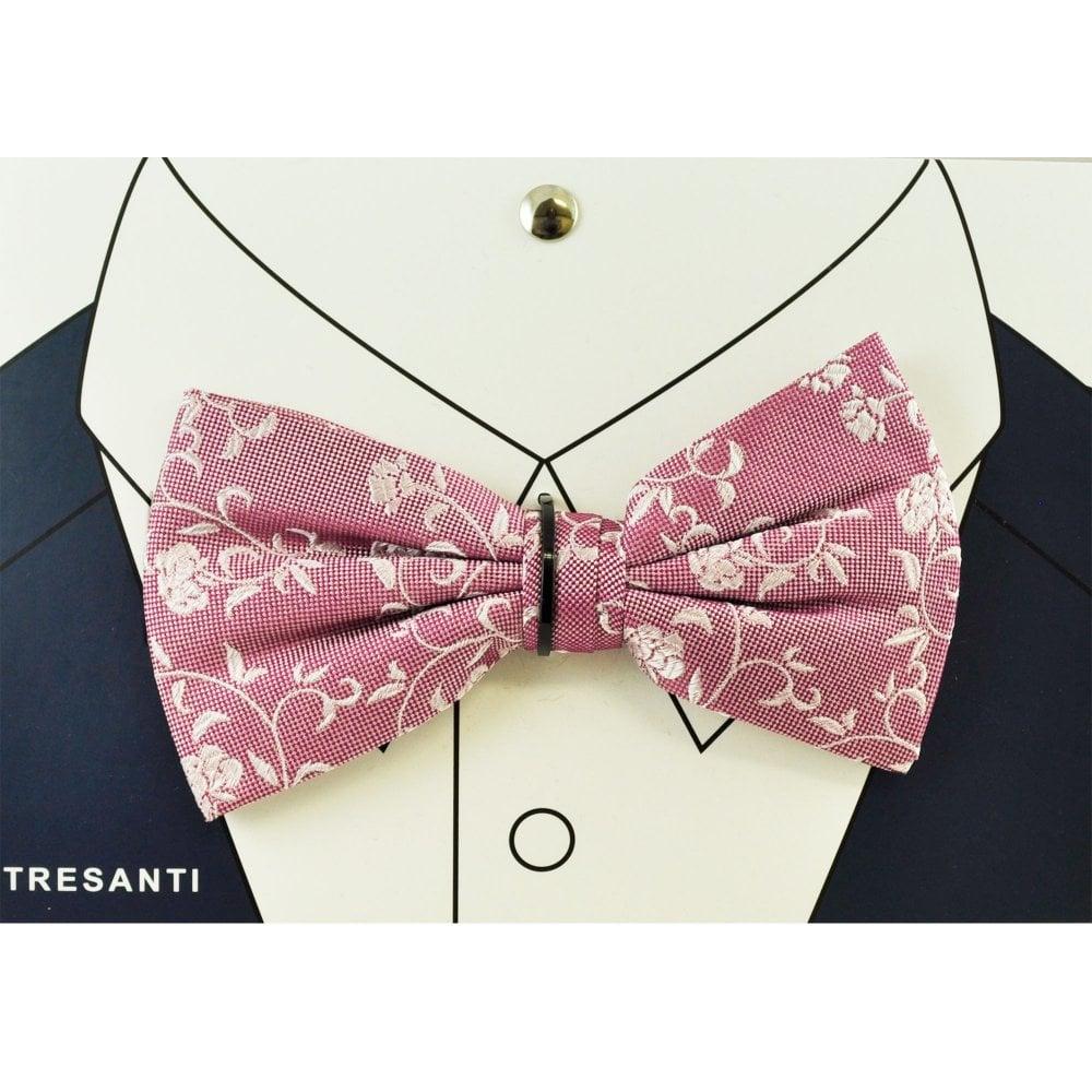 01808877ce09 Tresanti Dark Pink & Light Pink Floral Pattern Men's Silk Bow Tie from Ties  Planet UK