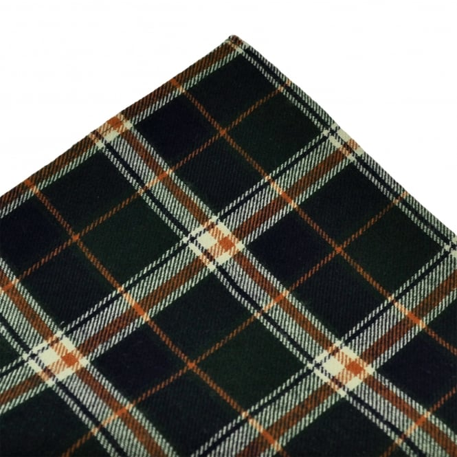 Tresanti Green, Navy Blue, Brown & Ivory Checked Cotton Pocket Square Handkerchief