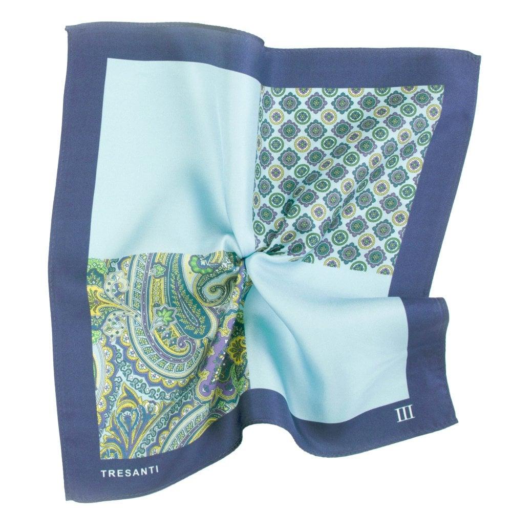 f9b6389208ea9 Tresanti Light Blue & Navy 4-Way Printed Silk Pocket Square Handkerchief  from Ties Planet UK