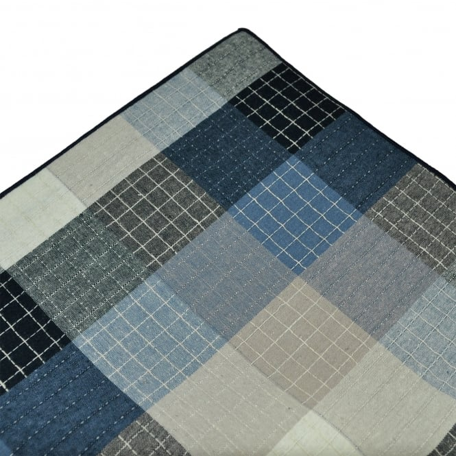 Tresanti Navy Blue & Beige with Beige Edge Checked Linen Pocket Square Handkerchief