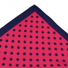 Tresanti Navy Blue & Fuchsia Pink Polka Dot Silk Pocket Square Handkerchief
