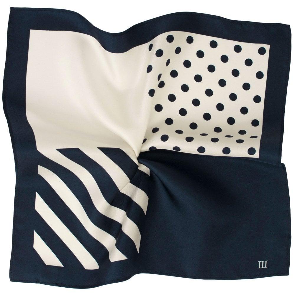cb25bdc2185bb Tresanti Navy Blue & Ivory White 4-Way Plain, Spots & Stripes Printed Silk  Pocket Square Handkerchief from Ties Planet UK