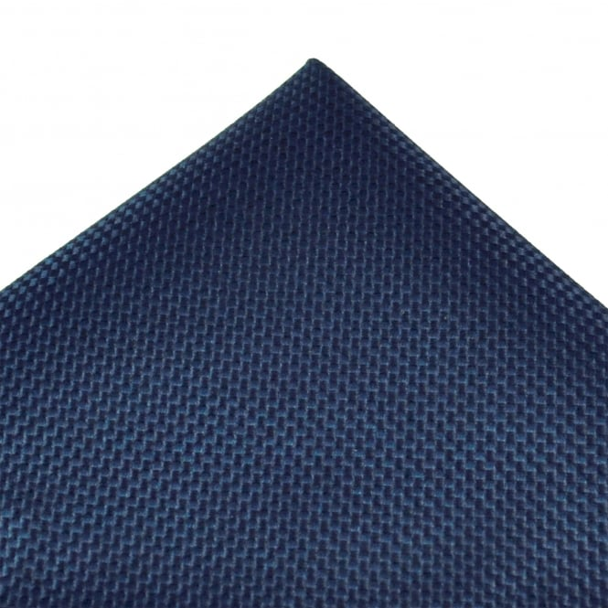 Tresanti Navy Blue Micro Checked Silk Pocket Square Handkerchief