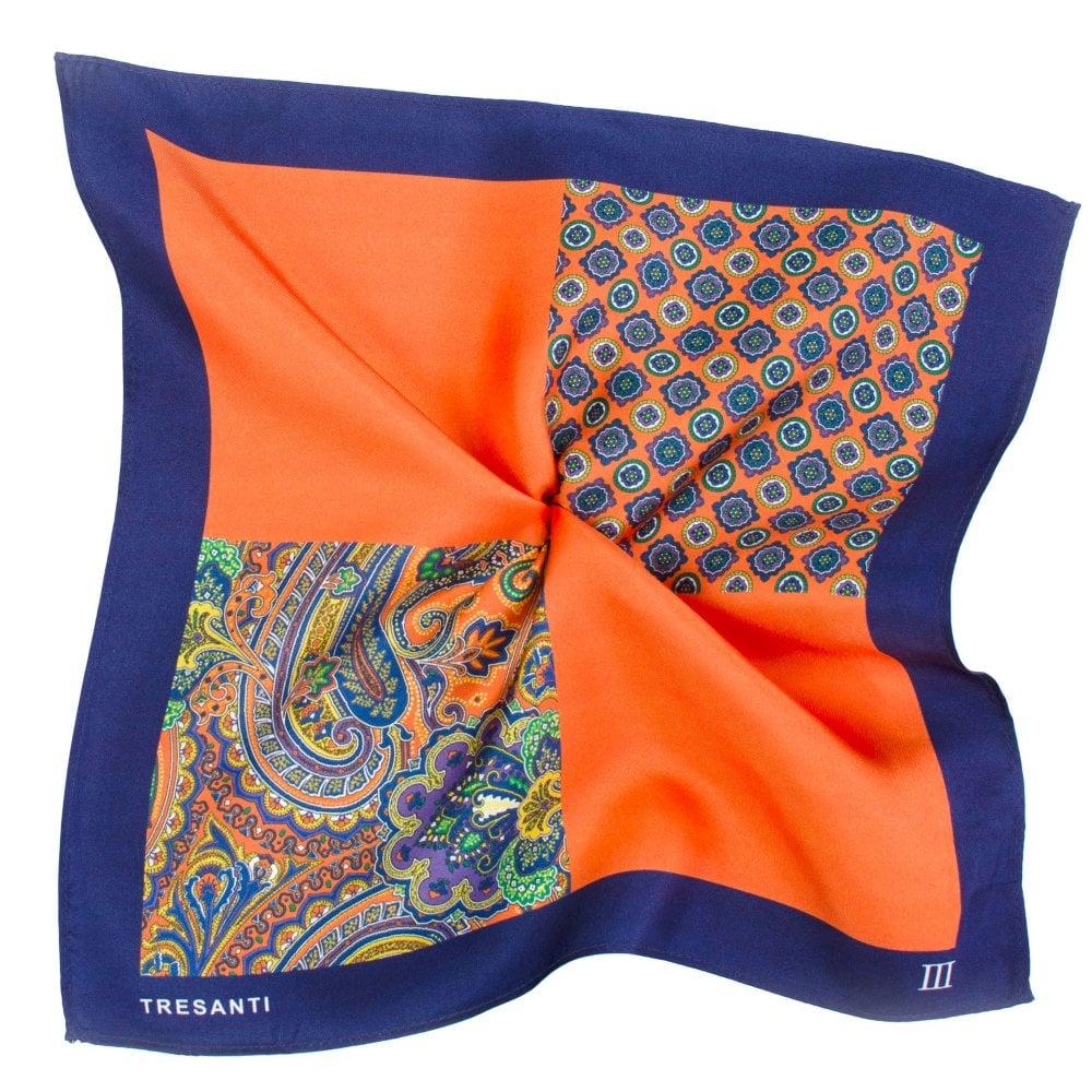 5c38e82c11421 Tresanti Navy Blue & Orange 4-Way Printed Silk Pocket Square Handkerchief  from Ties Planet UK