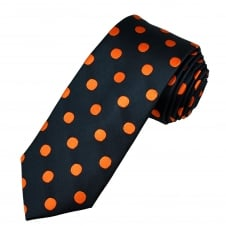 Tresanti Navy Blue & Orange Polka Dot Silk Men's Tie