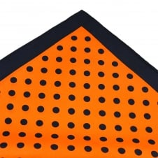 Tresanti Navy Blue & Orange Polka Dot Silk Pocket Square Handkerchief