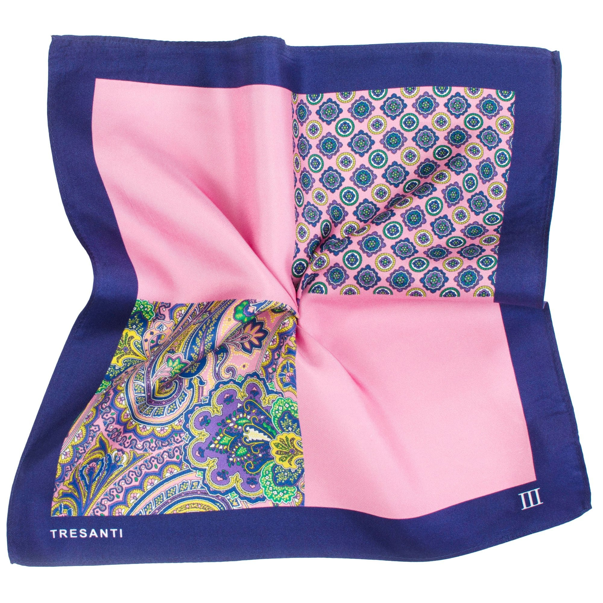Hankie Pocket Square Handkerchief Silver Blue /& Pink Paisley