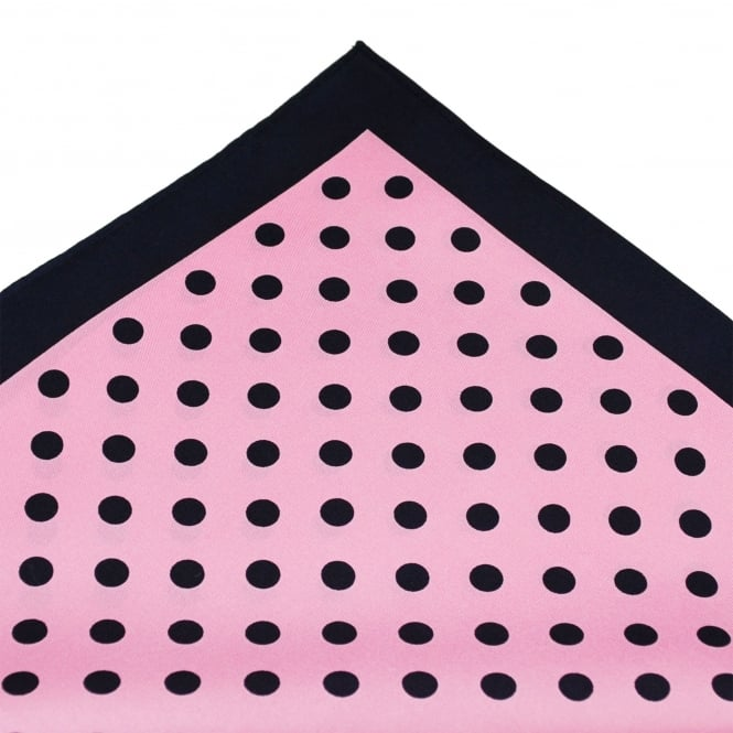 Tresanti Navy Blue & Pink Polka Dot Silk Pocket Square Handkerchief