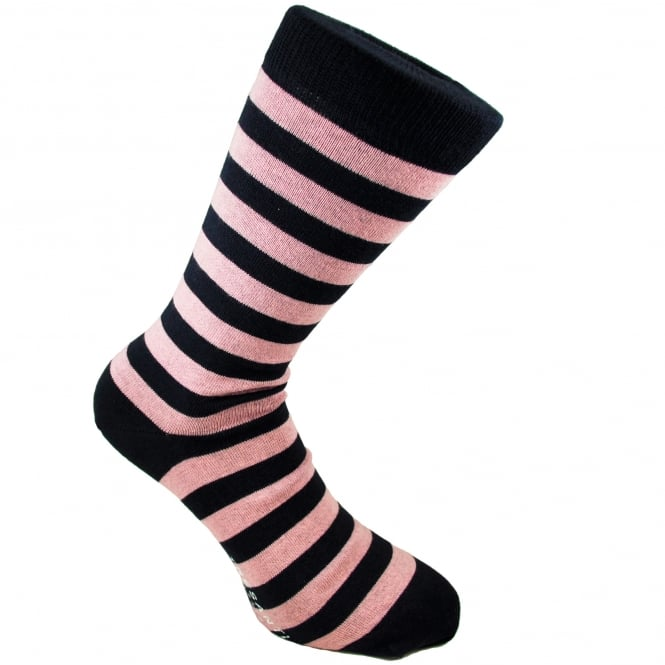 Tresanti Navy Blue & Pink Striped Men's Socks