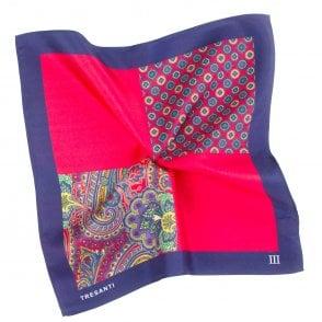 686364099a7a2 Tresanti Navy Blue & Red 4-Way Printed Silk Pocket Square Handkerchief