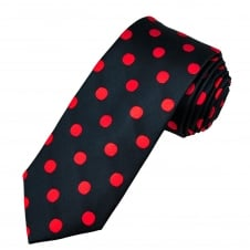 Tresanti Navy Blue & Red Polka Dot Silk Men's Tie