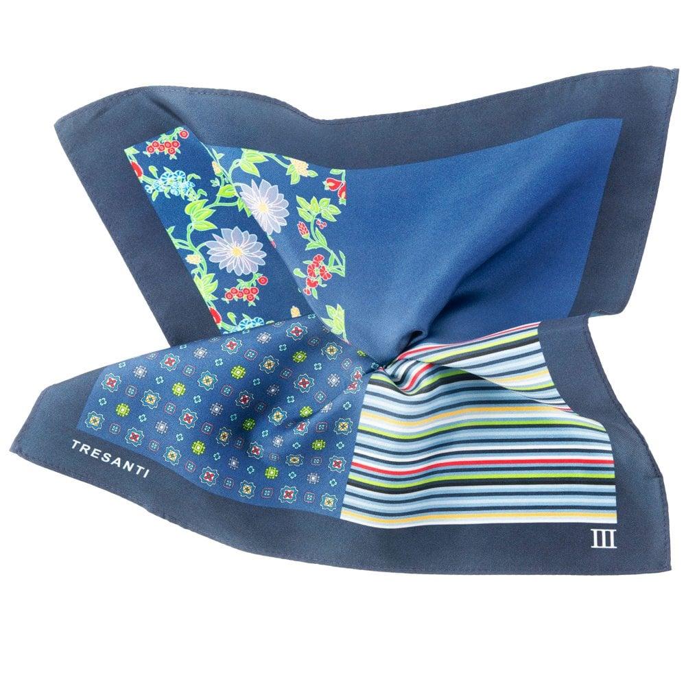 1ac419c7fbf7d Tresanti Navy Blue & Royal Blue 4-Way Printed Silk Pocket Square  Handkerchief from Ties Planet UK