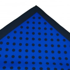 Tresanti Navy Blue & Royal Blue Polka Dot Silk Pocket Square Handkerchief