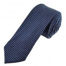 Tresanti Navy Blue & White Polka Dot Cotton Men's Skinny Tie