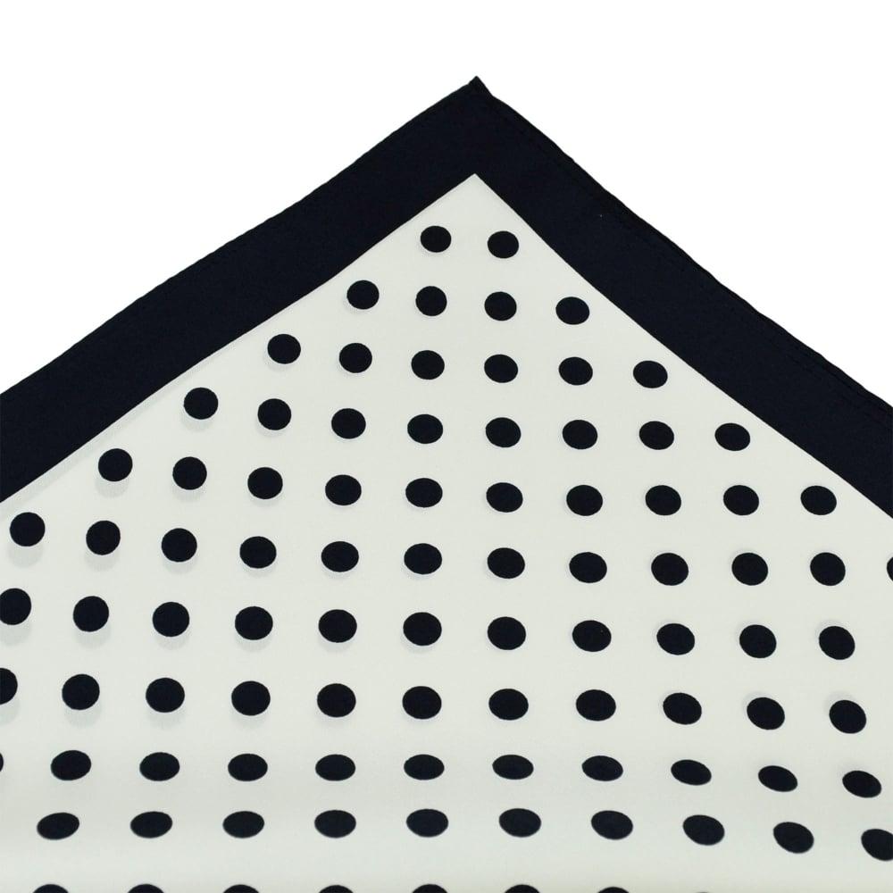 3a4a328e637f6 Tresanti Navy Blue & White Polka Dot Silk Pocket Square Handkerchief from  Ties Planet UK