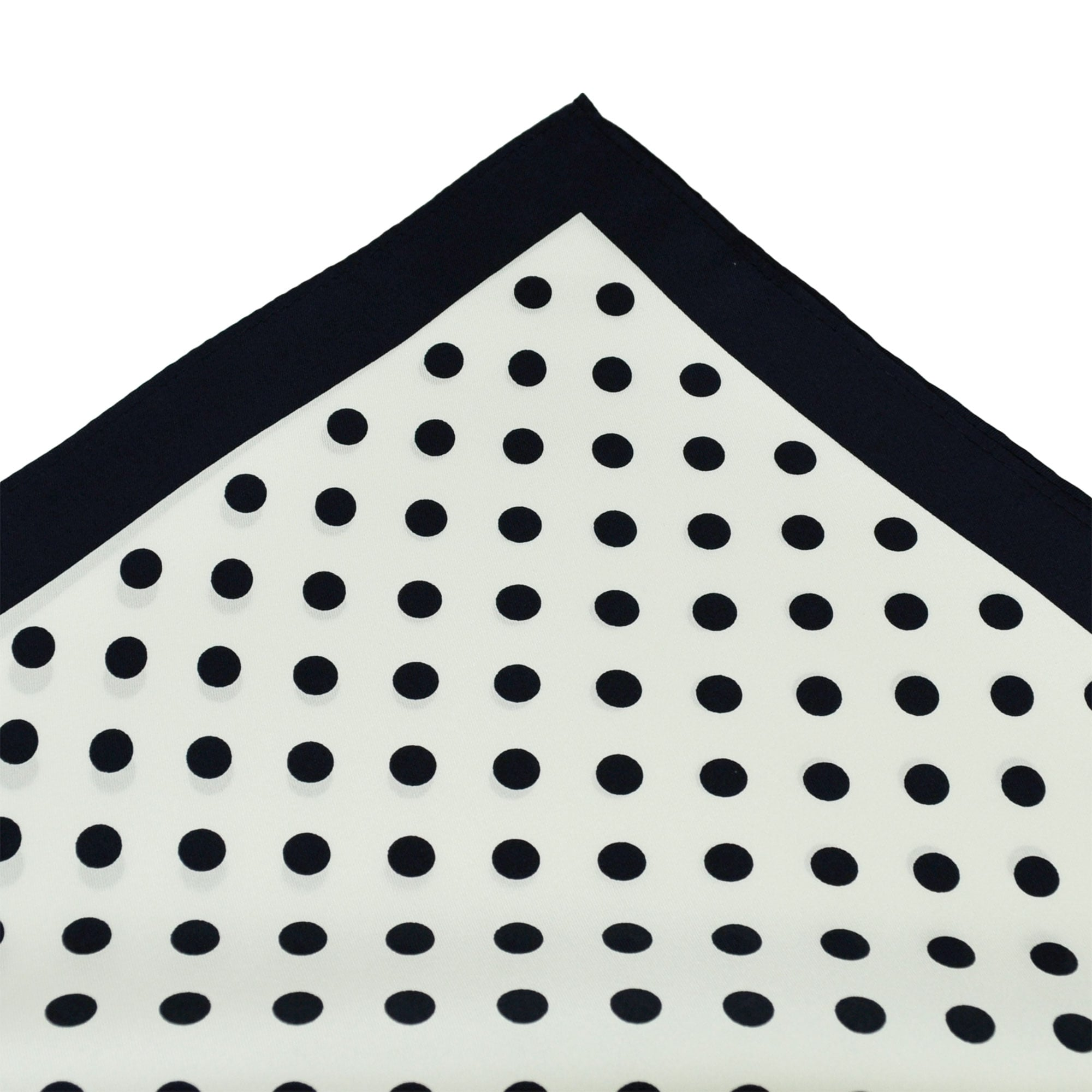 UK Made 100/% SILK Pocket Square Handkerchief Navy Blue Polka Dot DBH-07