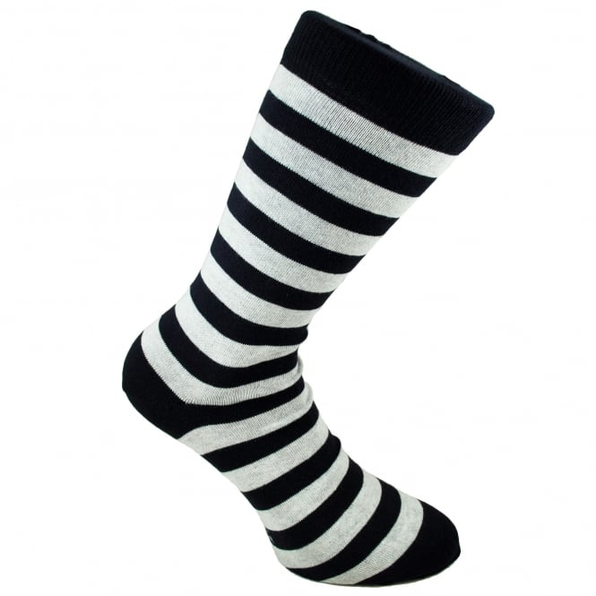 Tresanti Navy Blue & White Striped Men's Socks