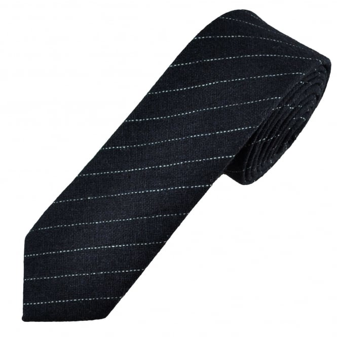 Tresanti Navy Blue & White Striped Wool Blend 6cm Skinny Tie