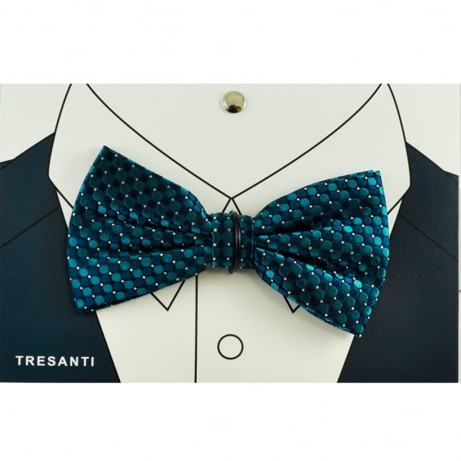 Tresanti Navy, Indigo Blue, Turquoise & Silver Circle Pattern Silk Men's Bow Tie