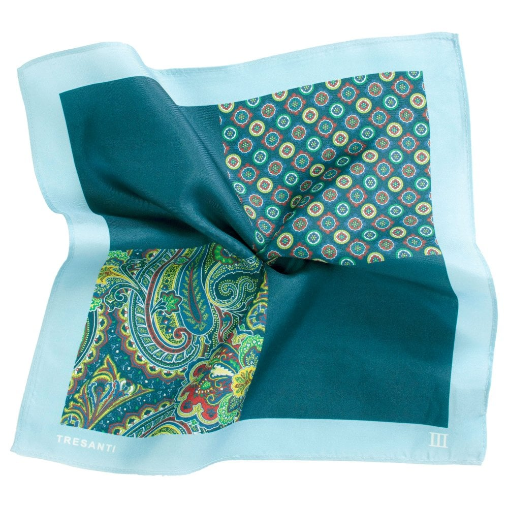 7dc1dd8889fab Tresanti Navy & Light Blue 4-Way Printed Silk Pocket Square Handkerchief  from Ties Planet UK