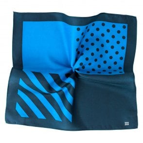 5d61acecc544d Tresanti Navy & Royal Blue 4-Way Plain, Spots & Stripes Printed Silk Pocket