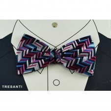 Tresanti Navy, Royal Blue, Shades of Pink & Silver Patterned Silk Men's Bow Tie