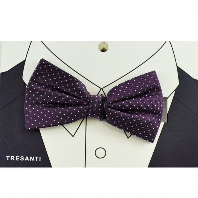 Tresanti Purple & Silver Polka Dot Silk Men's Bow Tie