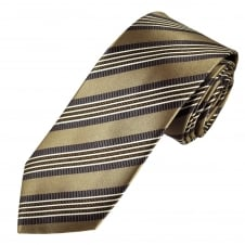 Tresanti Reale Beige, Brown, Grey & White Striped Silk Designer Tie