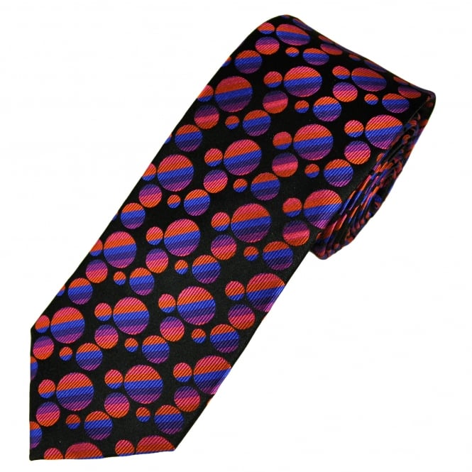 Tresanti Reale Black, Fuchsia Pink, Orange, Purple & Royal Blue Circles Patterned Silk Designer Tie
