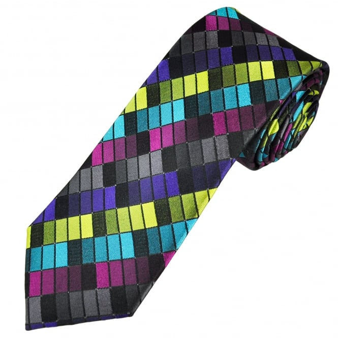 Tresanti Reale Black, Fuchsia Pink, Turquoise, Yellow & Purple Patterned Silk Designer Tie