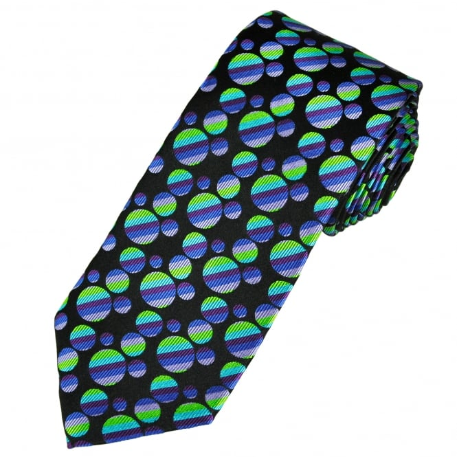 Ties Planet Tresanti Reale Black, Green, Turquoise, Purple, Blue & Lilac Circles Patterned Silk Designer Tie