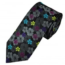 Tresanti Reale Black, Grey, Purple, Fuchsia Pink & Turquoise Flower Patterned Silk Designer Tie
