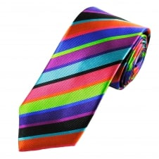 Tresanti Reale Black, Purple, Green, Coral Pink, Orange, Turquoise & Royal Blue Striped Silk Designer Tie