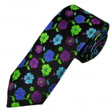 Tresanti Reale Black, Royal Blue, Green, Fuchsia Pink & Turquoise Flower Patterned Silk Designer Tie