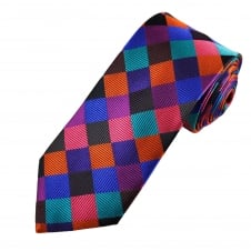 Tresanti Reale Black, Royal Blue, Orange, Turquoise, Purple & Fuchsia Pink Square Patterned Silk Designer Tie